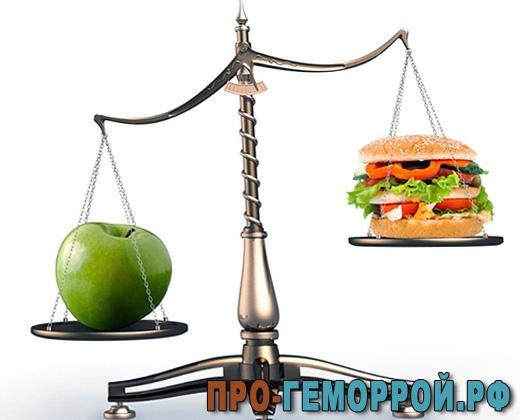 Требования к питанию при геморрое