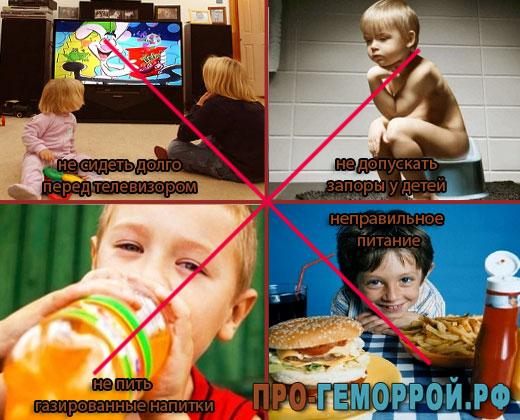 Профилактика геморроя у детей